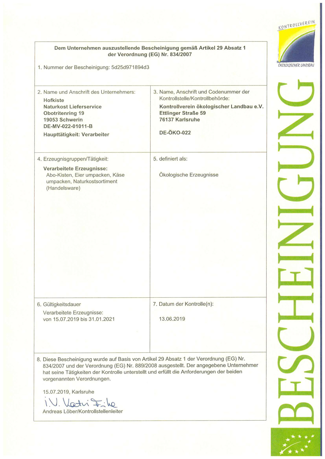 Zertifikat Ökologischer Landbau